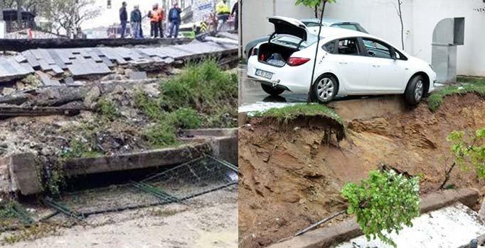 Küçükçekmece ve Kadıköy'de istinat duvarı çöktü