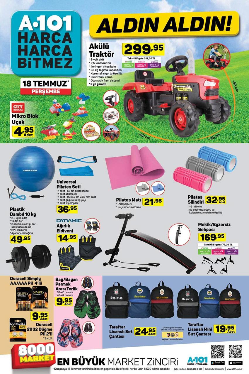 18 Temmuz A101 Spor Aktüel Ürünleri